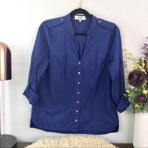 Tibi navy blue button down roll tab cotton blouse